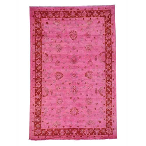 Hand Knotted Overdyed Peshawar Pink Cast Oriental