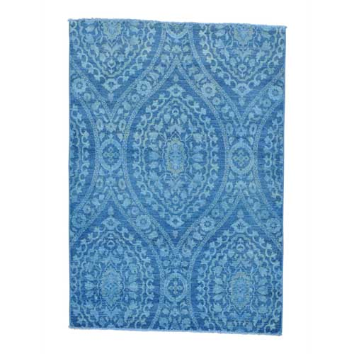 Overdyed Peshawar Blue Cast Hand Knotted Oriental