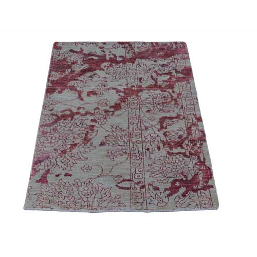Hand Knotted Wool and Silk Broken Design Heriz Sample Oriental