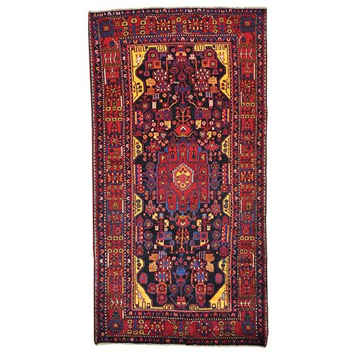 Pure Wool Wide Runner Full Pile Persian Nahavand Oriental