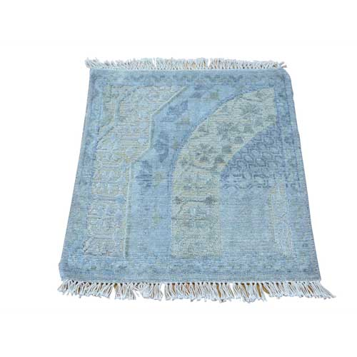 Square Modern Textured Wool and Silk Handmade Oriental
