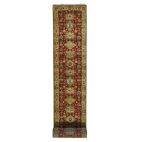 XL Runner Pure Wool Hand Knotted Rust Red Karajeh Oriental