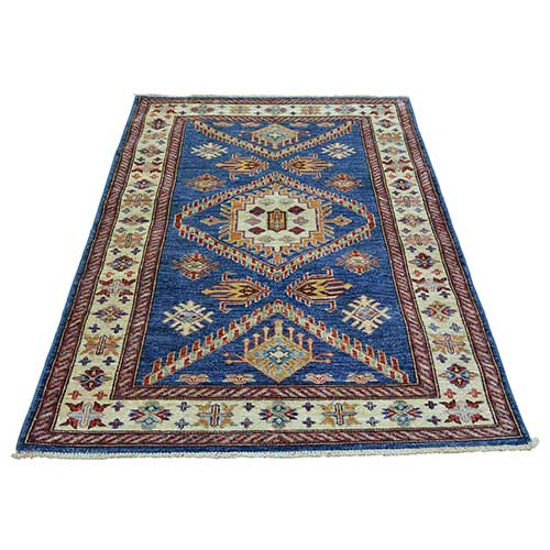 Denim Blue Super Kazak Hand Knotted 100 Percent Wool Oriental