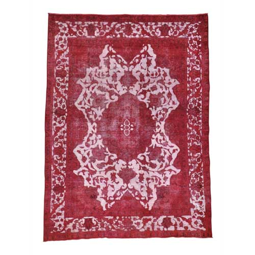 Pure Wool Handmade Red Overdyed Persian Tabriz Barjasta Vintage