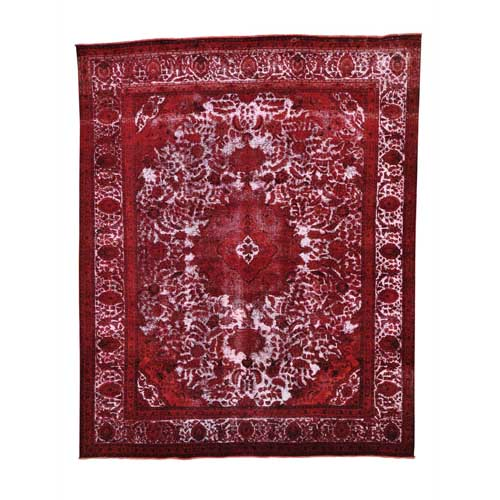 Pure Wool Red Overdyed Persian Tabriz Barjasta Vintage
