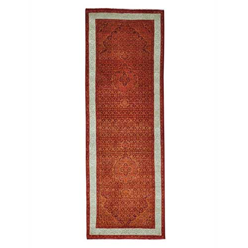 Orange Tabriz Mahi Wool & Silk Runner Hand Knotted Oriental