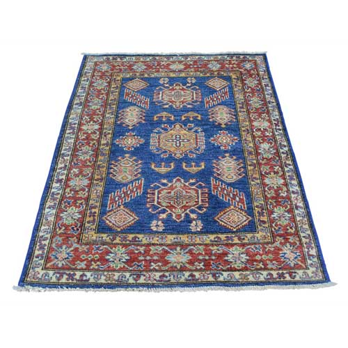 Denim Blue Tribal Design Hand Knotted Pure Wool Super Kazak