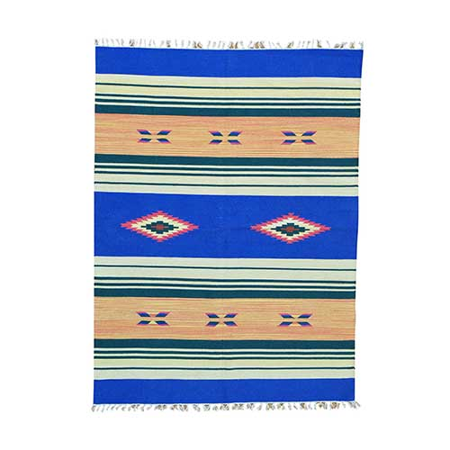 Striped Kilim Flat Weave Hand Woven Southwestern Design