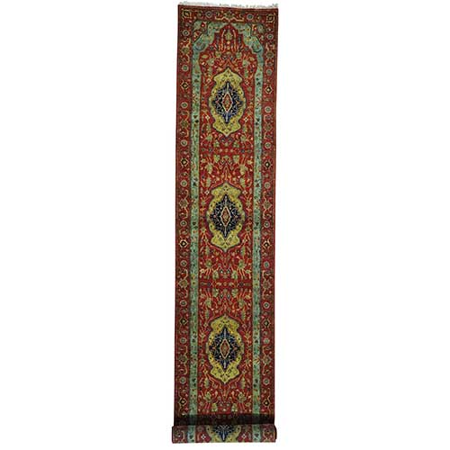Hand Knotted Antiqued Heriz Re-creation Runner Pure Wool