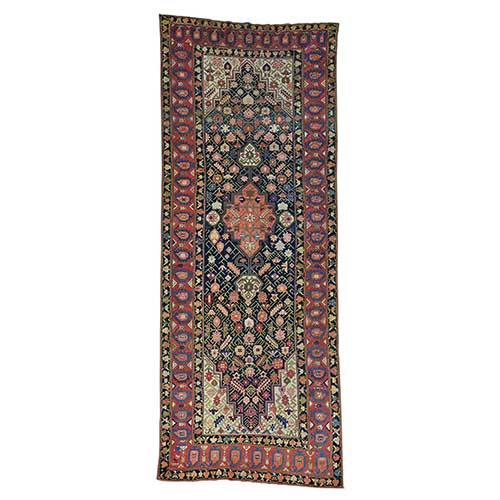 Gallery Size Antique Persian Kurdish Bijar Hand Knotted