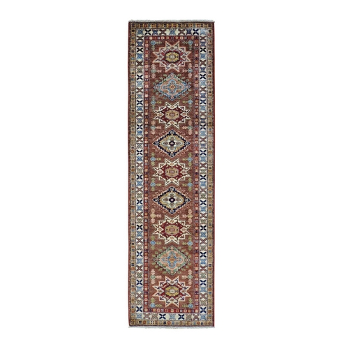 Runner Super Kazak Pure Wool Hand Knotted Oriental