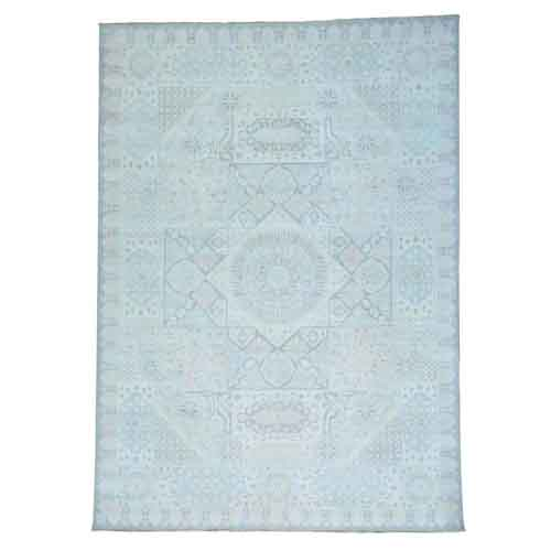 White Wash Mamluk Pure Wool Hand Knotted Oriental