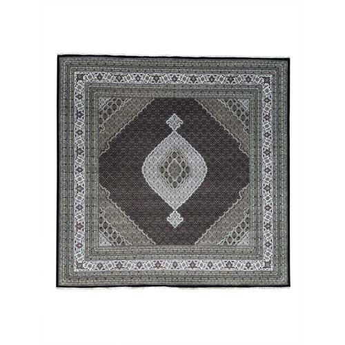 Square Hand-Knotted Wool and Silk Tabriz Mahi Oriental Rug