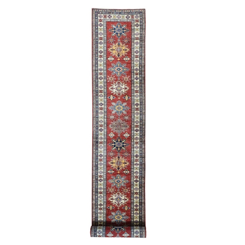 Hand-Knotted XL Runner Geometric Design Super Kazak