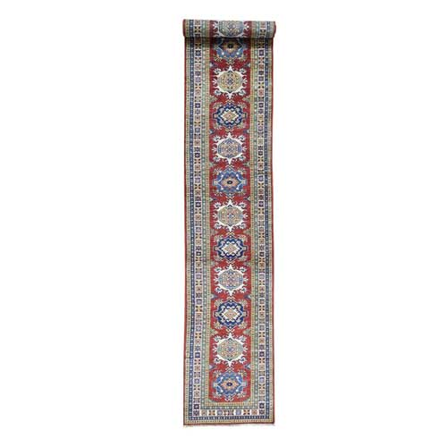 Hand-Knotted XL Runner Super Kazak Tribal Design Oriental
