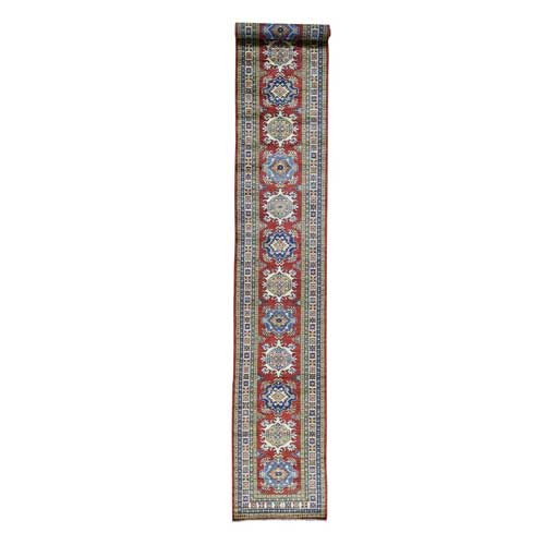 Hand-Knotted Tribal Design Super Kazak XL Runner Oriental