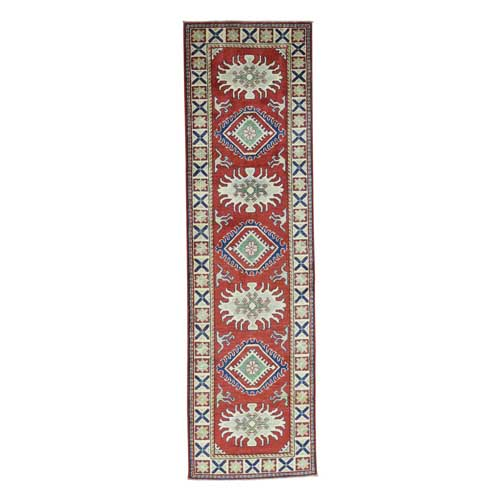 Hand-Knotted Geometric Design Kazak Runner Pure Wool