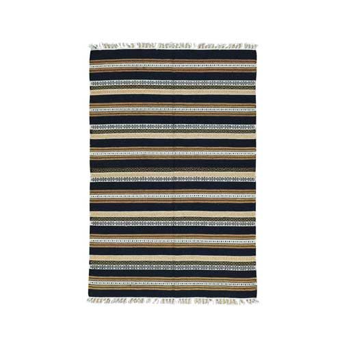 Hand-Woven Striped Reversible Kilim Pure Wool Flat Weave