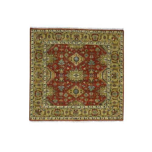 Hand-Knotted Karajeh 100 Percent Wool Square Oriental Carpet