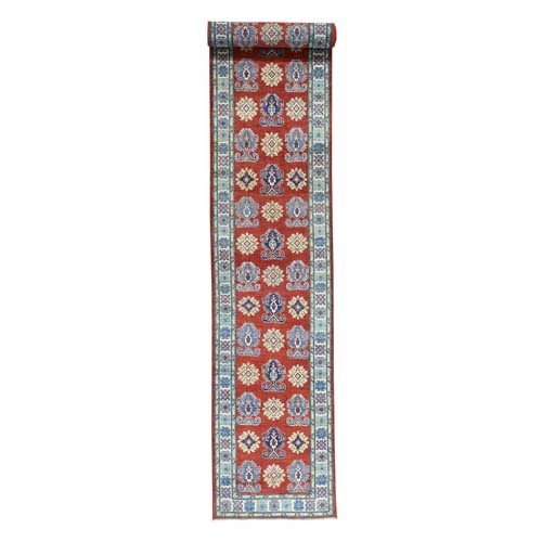 Hand-Knotted Tribal Design Red XL Runner Kazak Oriental