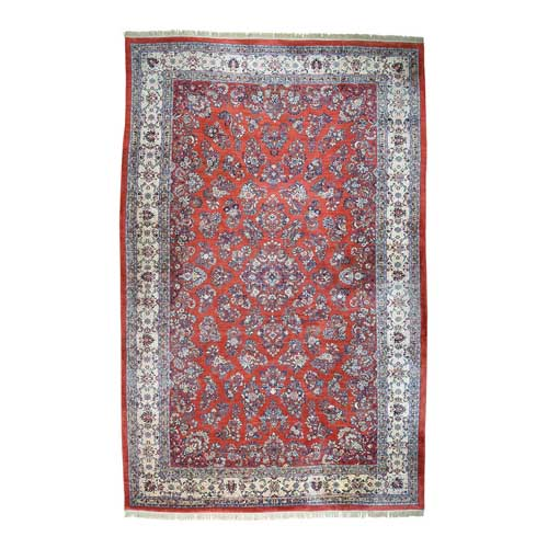 Old Persian Sarouk Hand-Knotted Red Oversize Mint Cond