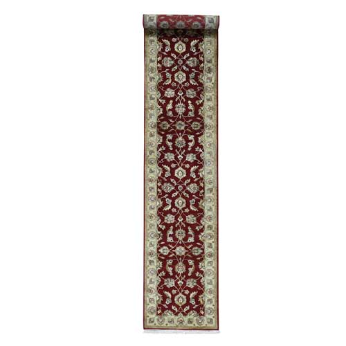 Half Wool And Half Silk Red Rajasthan Hand-Knotted Runner Rug