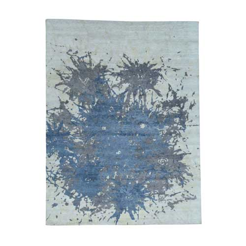 100 Percent Wool Splash Abstract Design Hand-Knotted Oriental