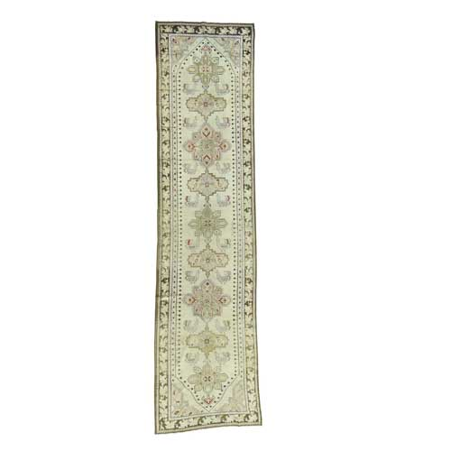 Handmade Antique Caucasian Karabakh Pure Wool Wide Runner