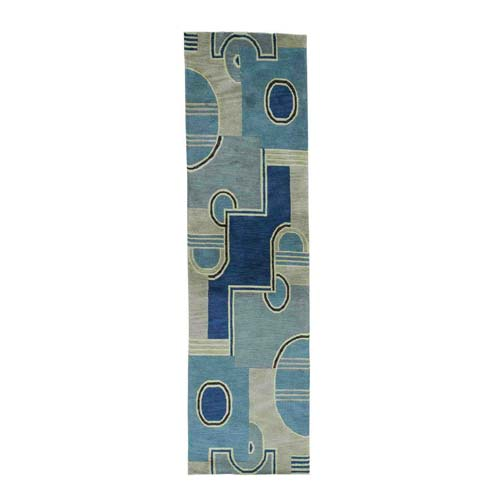 Pure Wool Multicolored Hand-Knotted Modern Nepali Runner