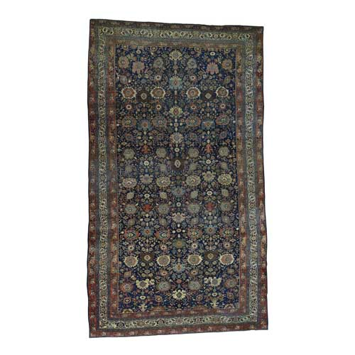 Hand-Knotted Antique Persian Bijar Even Wear Oversize