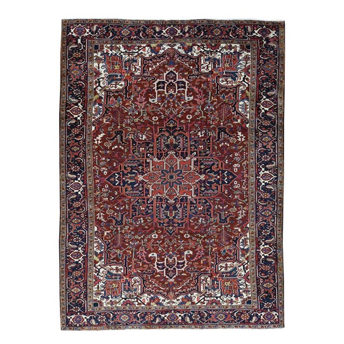 Hand-Knotted Semi Antique Persian HerizSoft Oriental