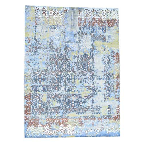 Textured Wool With Silk Abstract Design Handmade Rug