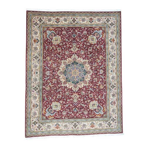 Persian Tabriz 400 Kpsi Wool and Silk Handmade Oriental