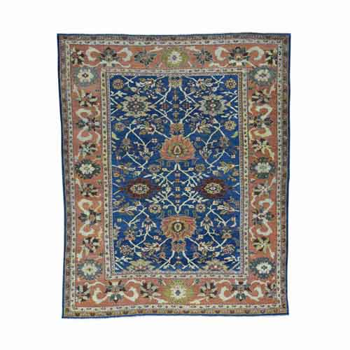 Antique Persian Mahal Navy Blue Even Wear Handmade
