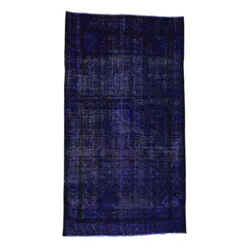 Handmade Pure Wool Overdyed Purple Wide Runner Hamadan