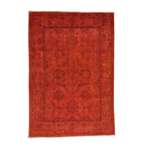 Burnt Orange Hand-Knotted Red Peshawar Overdyed Pure Wool Oriental