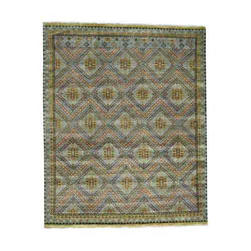 Hand-Knotted Qashqai Design Wool and Silk Oriental