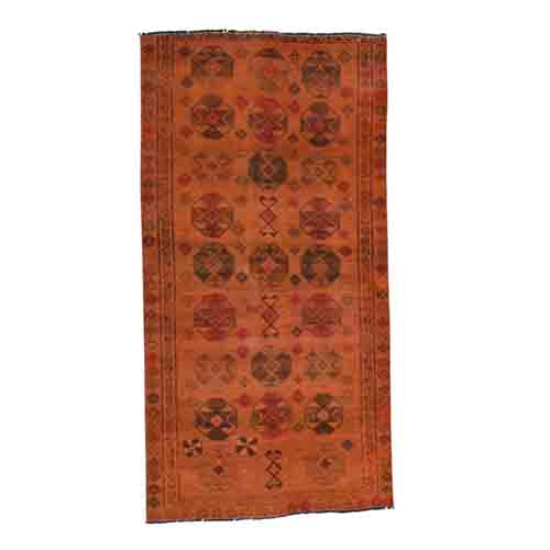 Handmade Overdyed Persian Shiraz Vintage Pure Wool Wide Runner