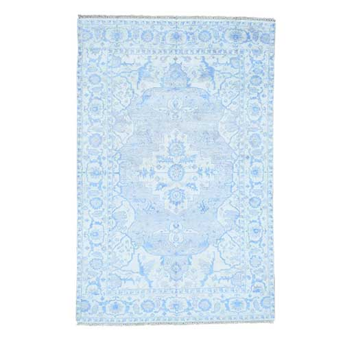 Hand-Knotted Art Silk Blue Heriz Design Oriental