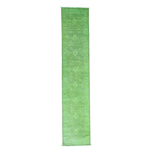 Hand Knotted Green Cast Peshawar Overdyed Worn Oriental Runner