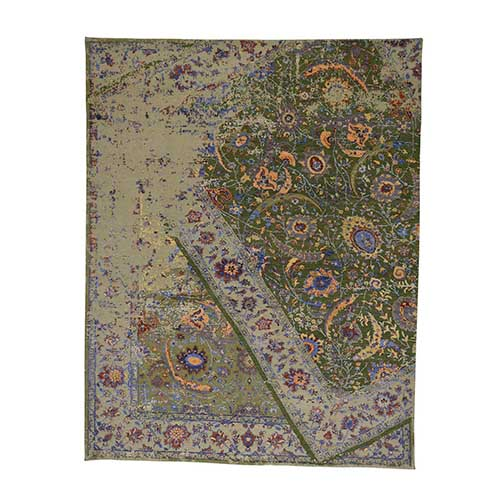 Silk and Oxidized Wool Broken Persian Tabriz Design