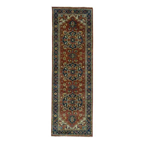 Antiqued Heriz Re-creation Pure Wool Hand-Knotted Runner