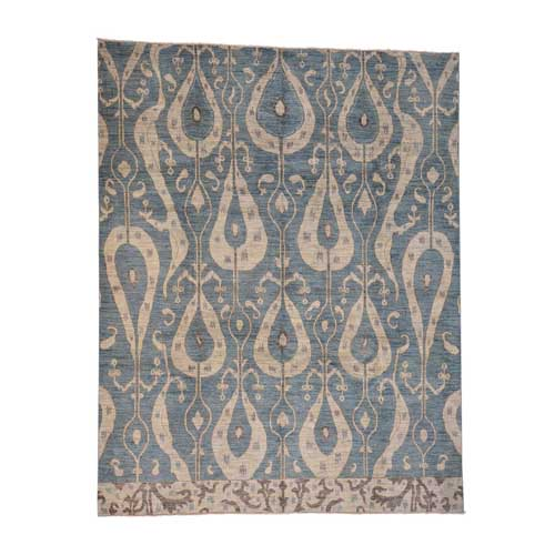 Denim Blue Ikat Uzbek Design Hand Knotted Oriental