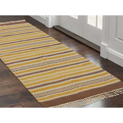 Hand Woven Striped Durie Kilim Reversible Flat Weave