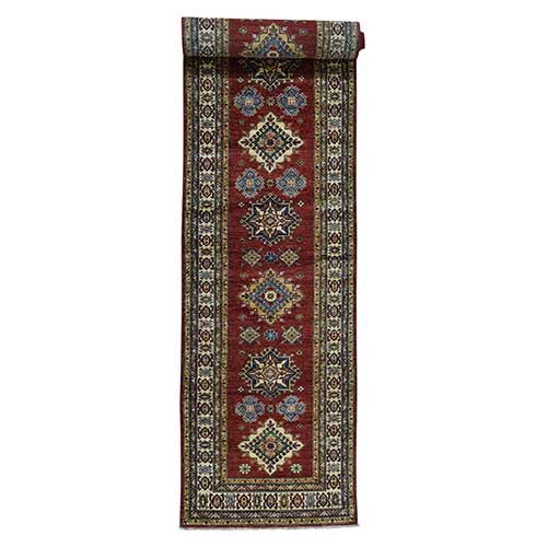Hand-Knotted Pure Wool Super Kazak Oriental Wide Runner