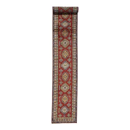 Hand-Knotted Pure Wool XL Runner Red Super Kazak