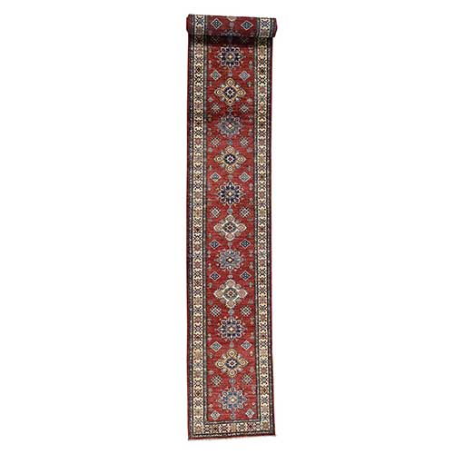 Red Super Kazak XL Runner Hand-Knotted Pure Wool