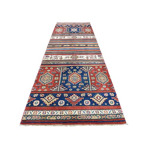Hand-Knotted Pure Wool Special Kazak with Khorjin Design Runner