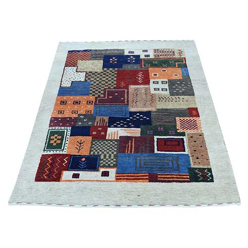 Hand-Knotted Persian Wool Lori Buft Gabbeh Patchwork Design