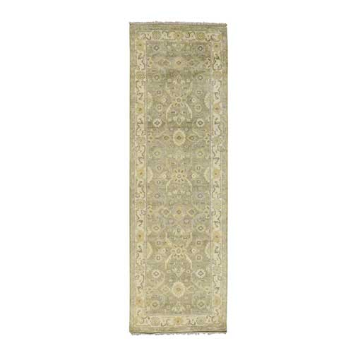 Hand Knotted Pure Wool Washed Out Oushak Oriental Runner